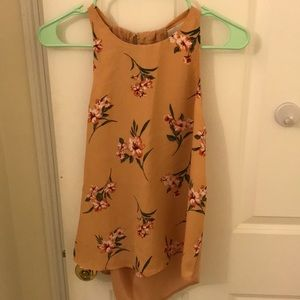 Size Small Tan Floral Silky Forever 21 Tank top
